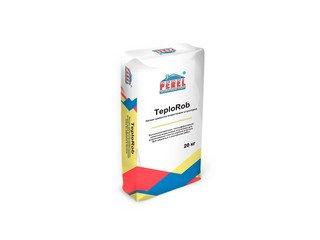 Легкая перлитовая цементно-известковая штукатурка Perel TeploRob 0518, 20 кг (ручное нанесение)